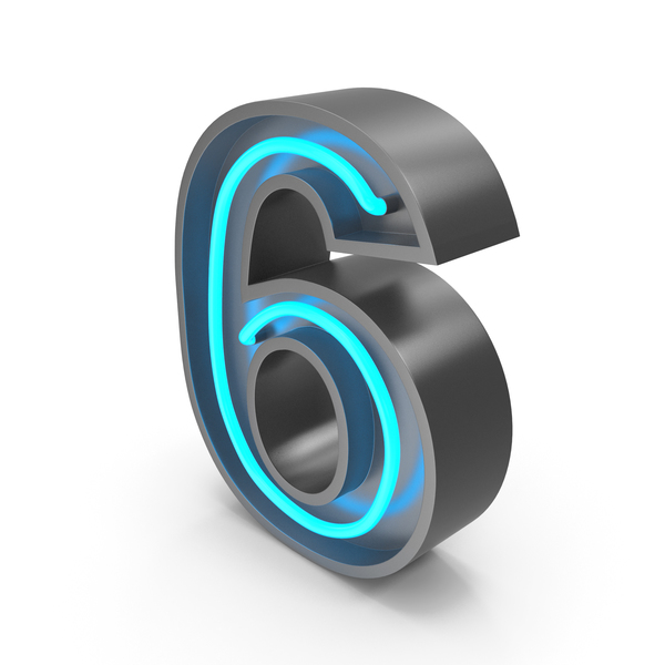 Neon Number 6 PNG & PSD Images