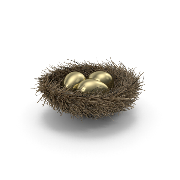 Nest with 3 Gold Eggs PNG & PSD Images