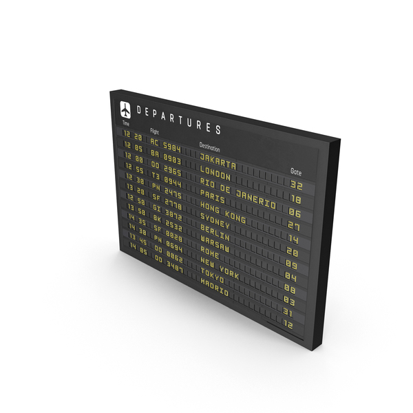 Airport Timetable: New Flight Information Sign PNG & PSD Images