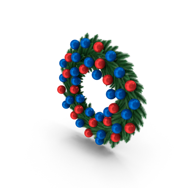 New Year Wreath with Blue and Red Balls PNG & PSD Images
