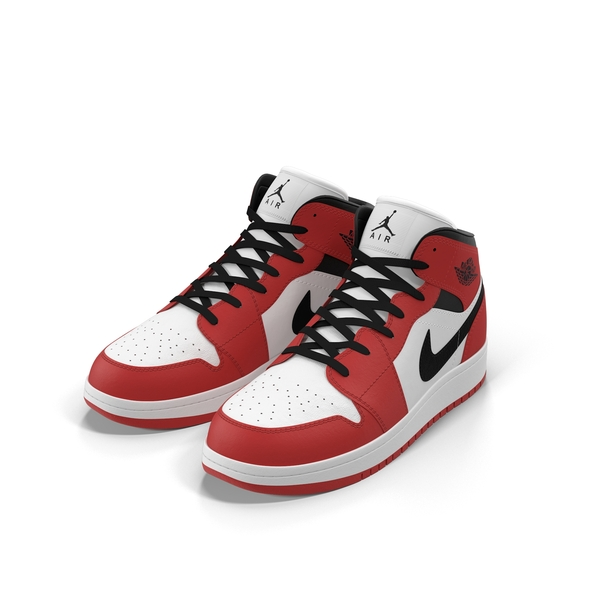 High Top Sneakers: Nike Air Jordan 1 Red And Black PNG & PSD Images
