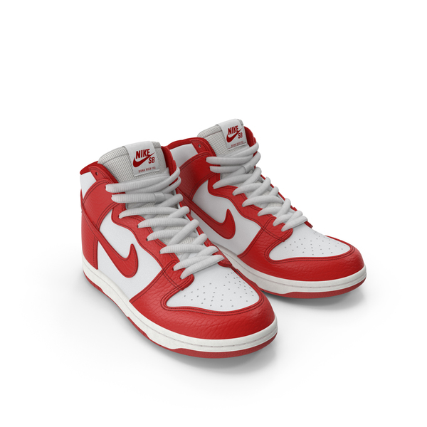 Nike Skateboarding Shoe Dunk High Pro Red PNG & PSD Images