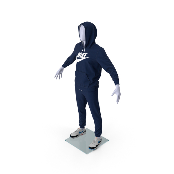 Nike Sportswear Suit Blue Raised Hood on Mannequin PNG & PSD Images
