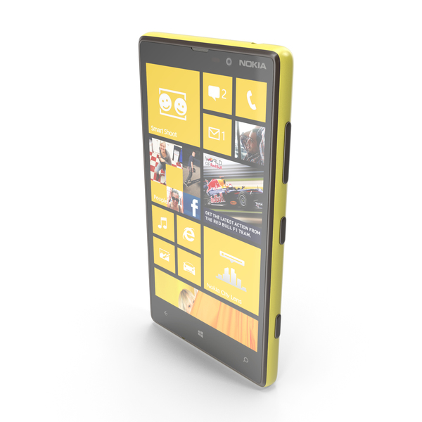 Smart Watch: Nokia Lumia 820 Yellow and White PNG & PSD Images