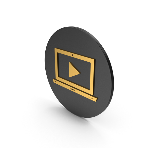 Logo: Notebook With Play Button Gold Icon PNG & PSD Images