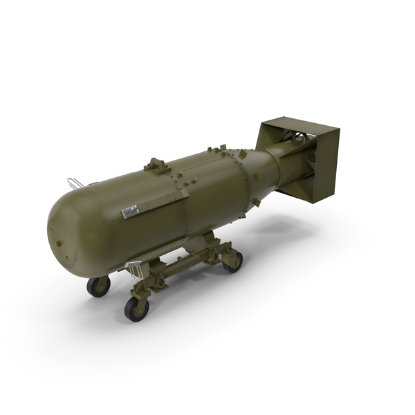 Nuclear Little Boy Bomb on Carriage PNG & PSD Images