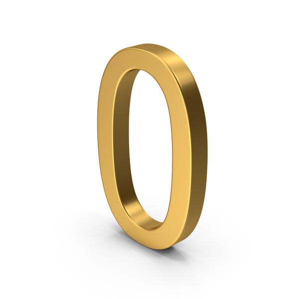 Number 0 Gold PNG & PSD Images