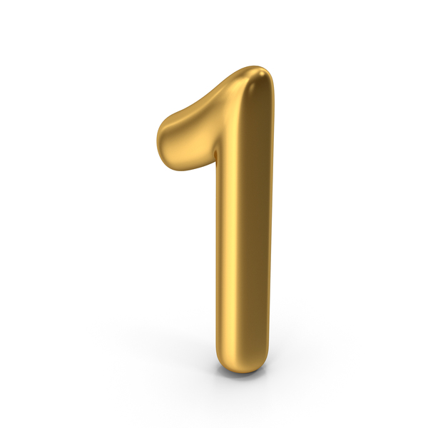 Number 1 Gold PNG & PSD Images