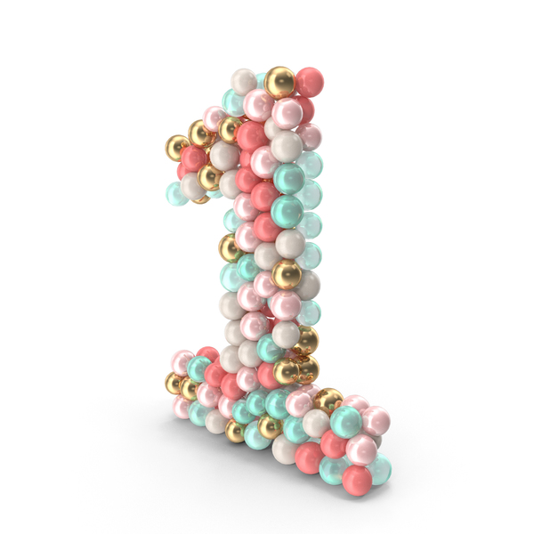 Number 1 Made of Balls PNG & PSD Images