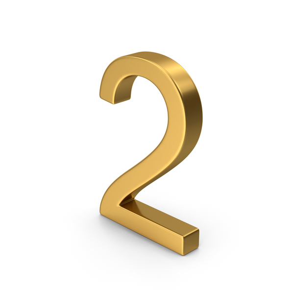 Number 2 Gold PNG & PSD Images