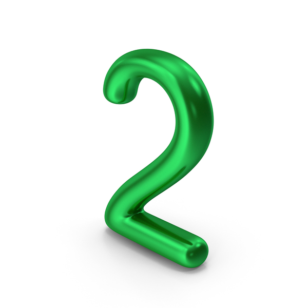 Number 2 Green Metallic PNG & PSD Images