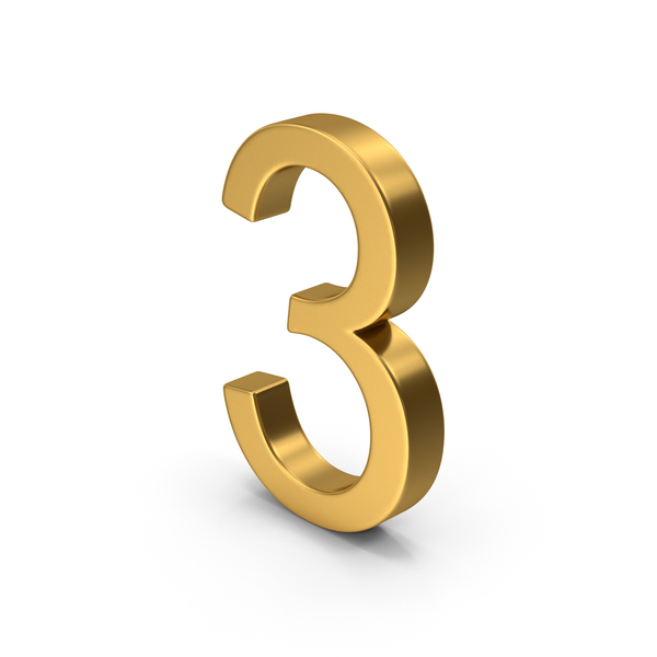 Number 3 Gold PNG & PSD Images
