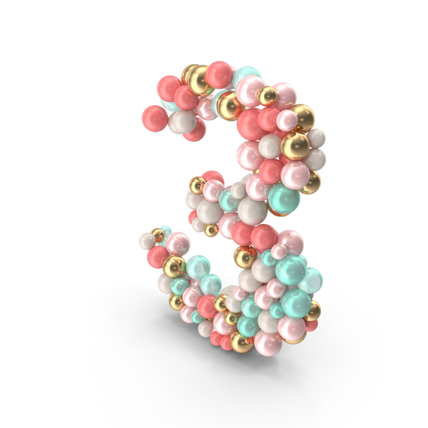 Number 3 Made of Balls PNG & PSD Images