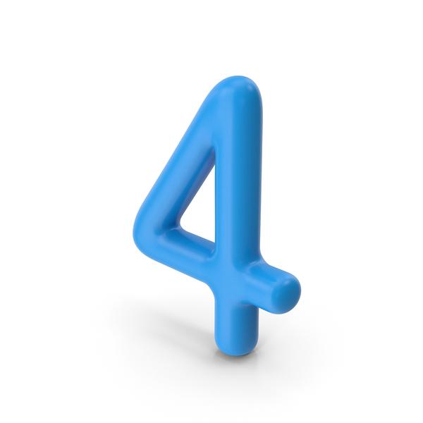 Number 4 Blue PNG & PSD Images