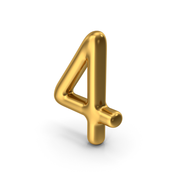 Number 4 Gold PNG & PSD Images