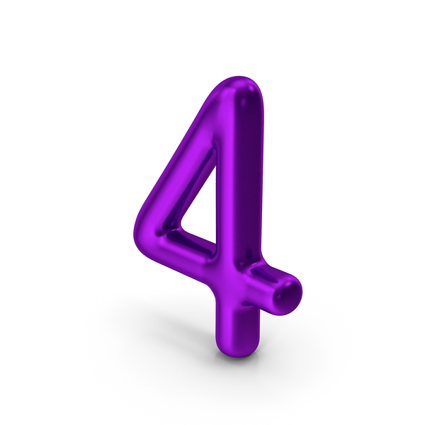 Number 4 Purple Metallic PNG & PSD Images