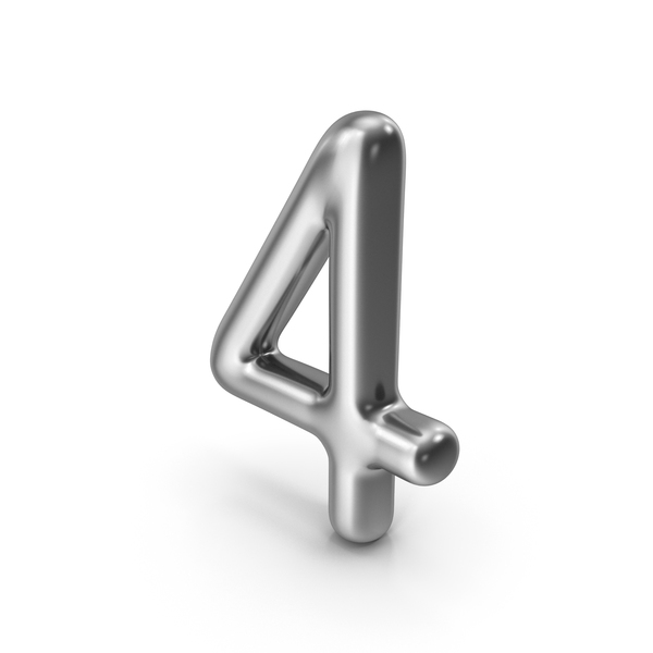 Number 4 Silver PNG & PSD Images
