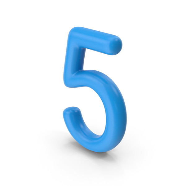 Number 5 Blue PNG & PSD Images