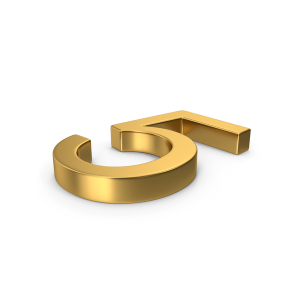 Number 5 Gold PNG & PSD Images