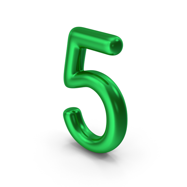 Number 5 Green Metallic PNG & PSD Images
