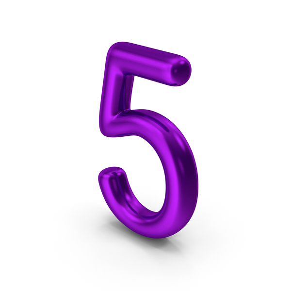 Number 5 Purple Metallic PNG & PSD Images