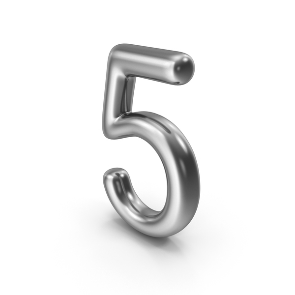 Number 5 Silver PNG & PSD Images