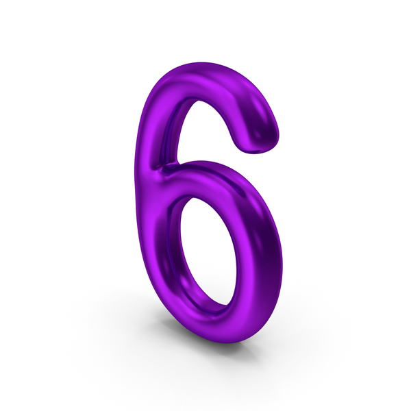 Number 6 Purple Metallic PNG & PSD Images