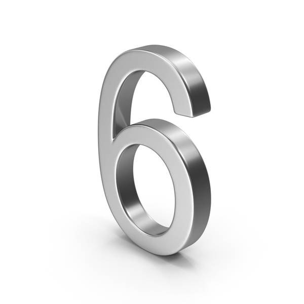 Number 6 Silver PNG & PSD Images