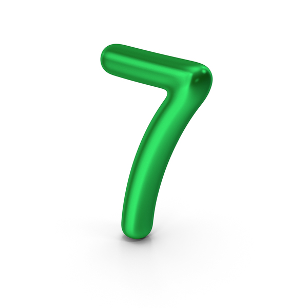 Number 7 Green Metallic PNG & PSD Images