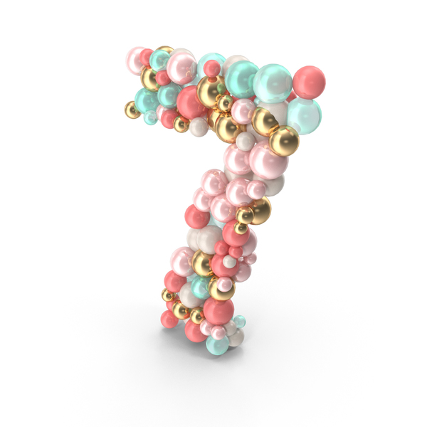 Number 7 Made of Balls PNG & PSD Images