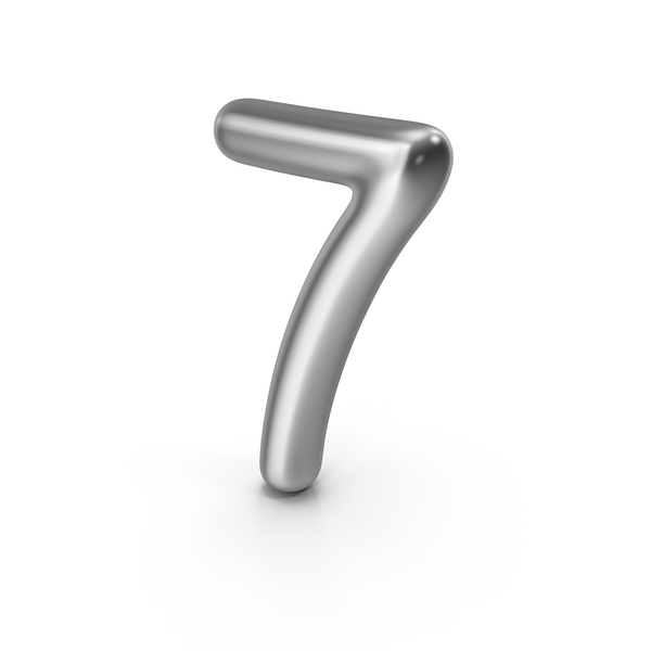 Number 7 Silver PNG & PSD Images