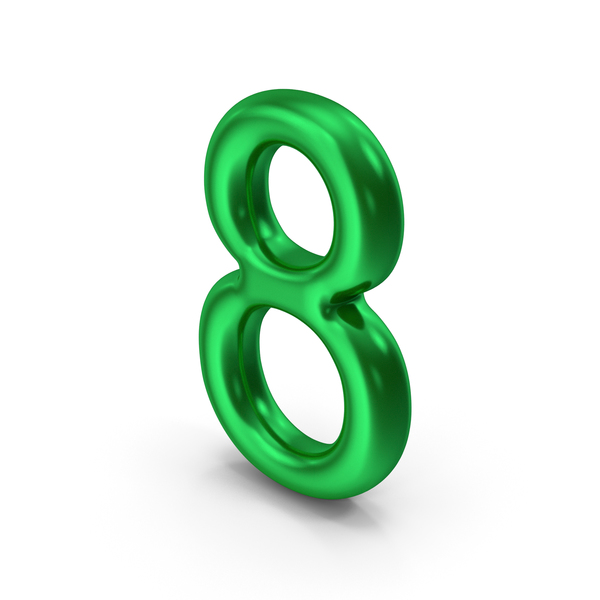 Number 8 Green Metallic PNG & PSD Images