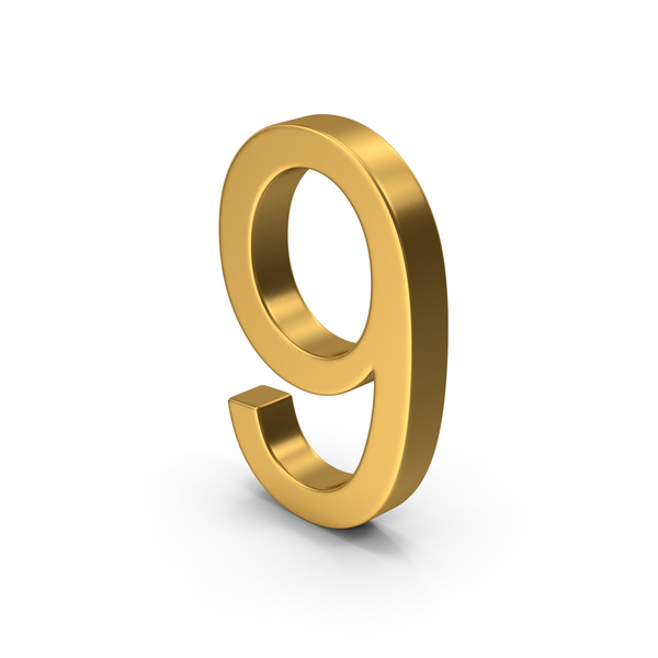 Number 9 Gold PNG & PSD Images