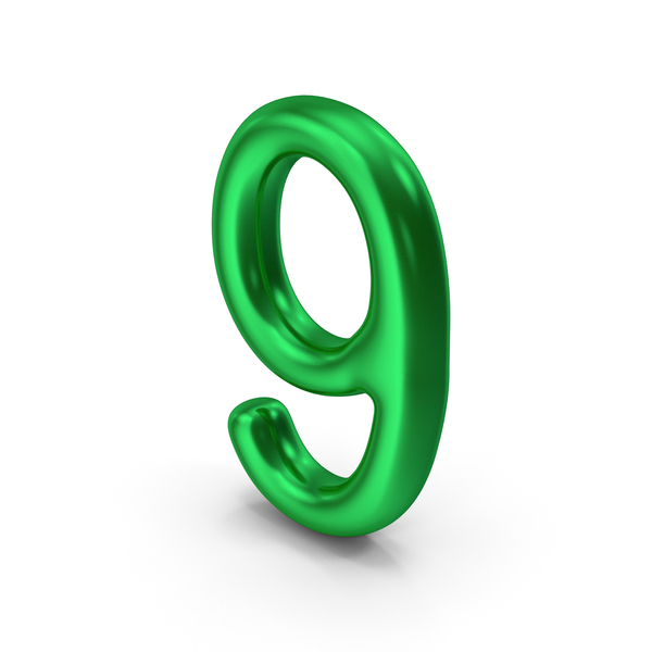 Number 9 Green Metallic PNG & PSD Images