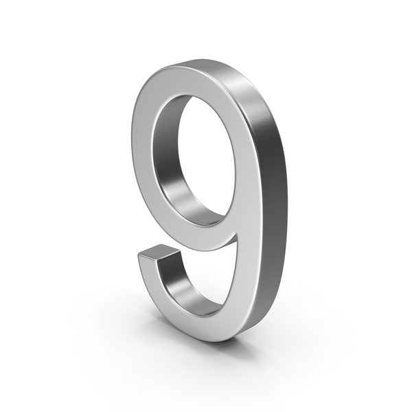 Number 9 Silver PNG & PSD Images