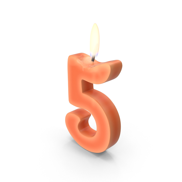 Birthday: Number Five Candle Object