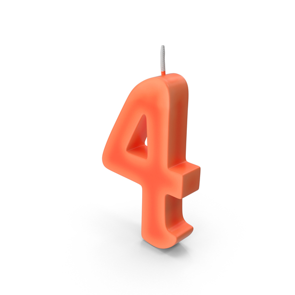 Birthday: Number Four Candle PNG & PSD Images