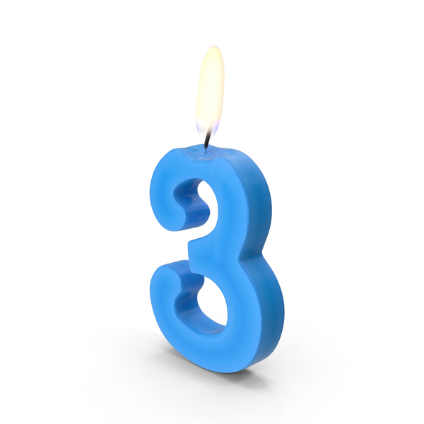 Birthday: Number Three Candle Object