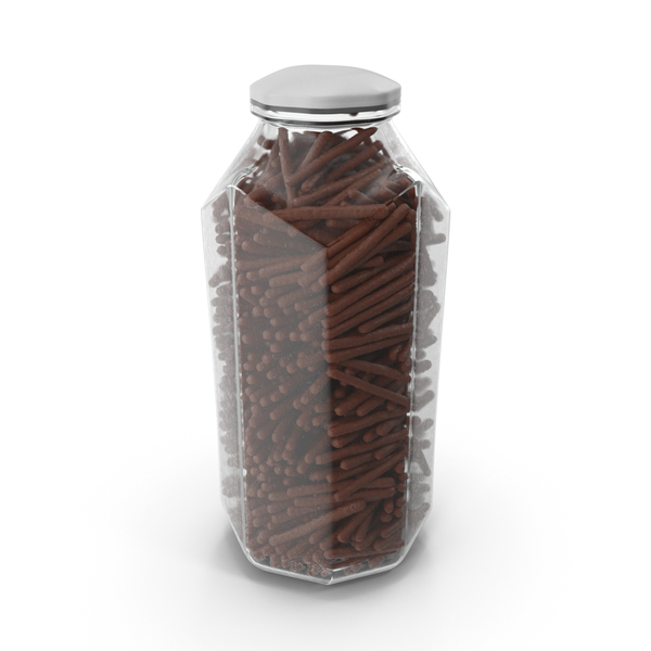Octagon Jar With Chocolate Covered Rods PNG & PSD Images