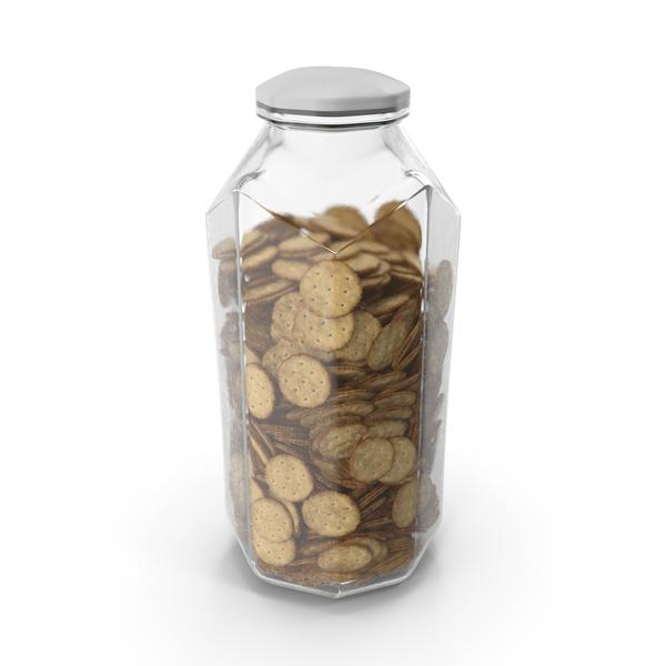 Octagon Jar with Circular Crackers PNG & PSD Images