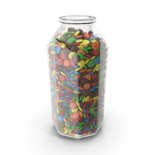 Octagon Jar with Colored Chocolate Buttons PNG & PSD Images
