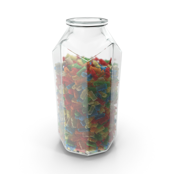 Bear: Octagon Jar with Gummy Bears PNG & PSD Images