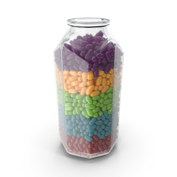 Octagon Jar with Jelly Beans Rainbow Colors PNG & PSD Images