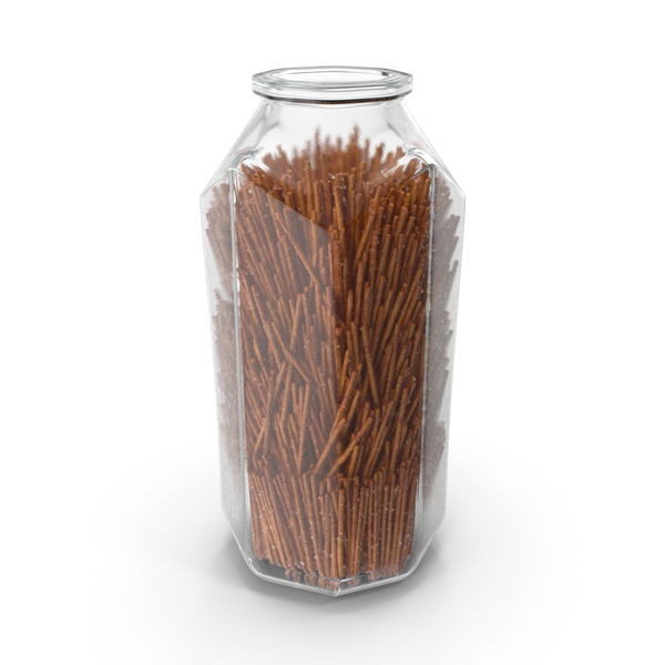 Octagon Jar with Long Salty Pretzel Sticks PNG & PSD Images