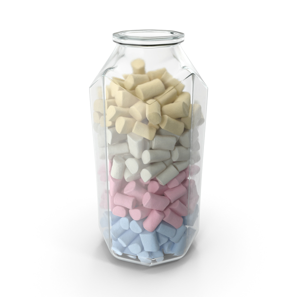 Octagon Jar with Marshmallows PNG & PSD Images