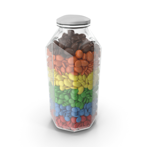 Octagon Jar with Mixed Color Coated Chocolate Candy PNG & PSD Images