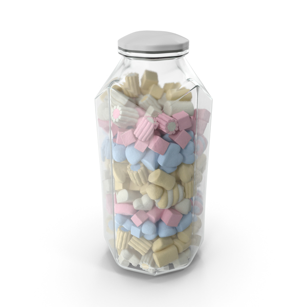 Marshmallow: Octagon Jar with Mixed Marshmallows PNG & PSD Images