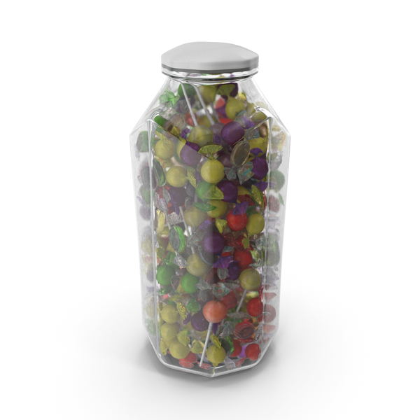 Octagon Jar with Mixed Wrapped Hard Candy PNG & PSD Images