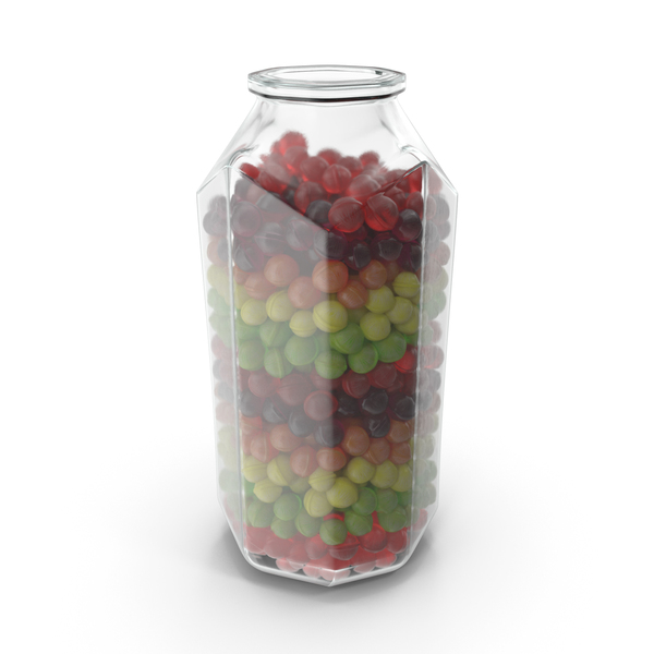 Octagon Jar with Spherical Hard Candy PNG & PSD Images