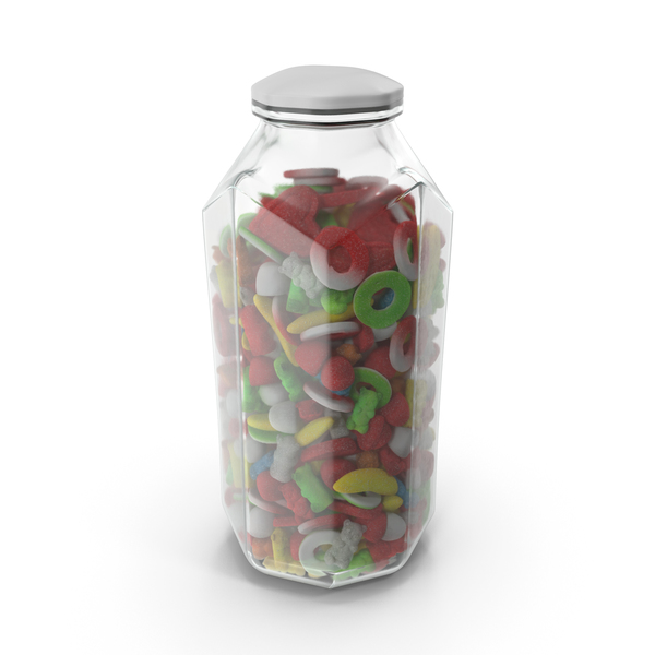 Octagon Jar with Sugar Coated Gummy Candy PNG & PSD Images